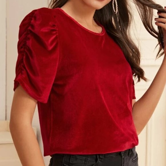 Tops - Red Scrunched Sleeve Velvet Blouse in S, M, L, XL